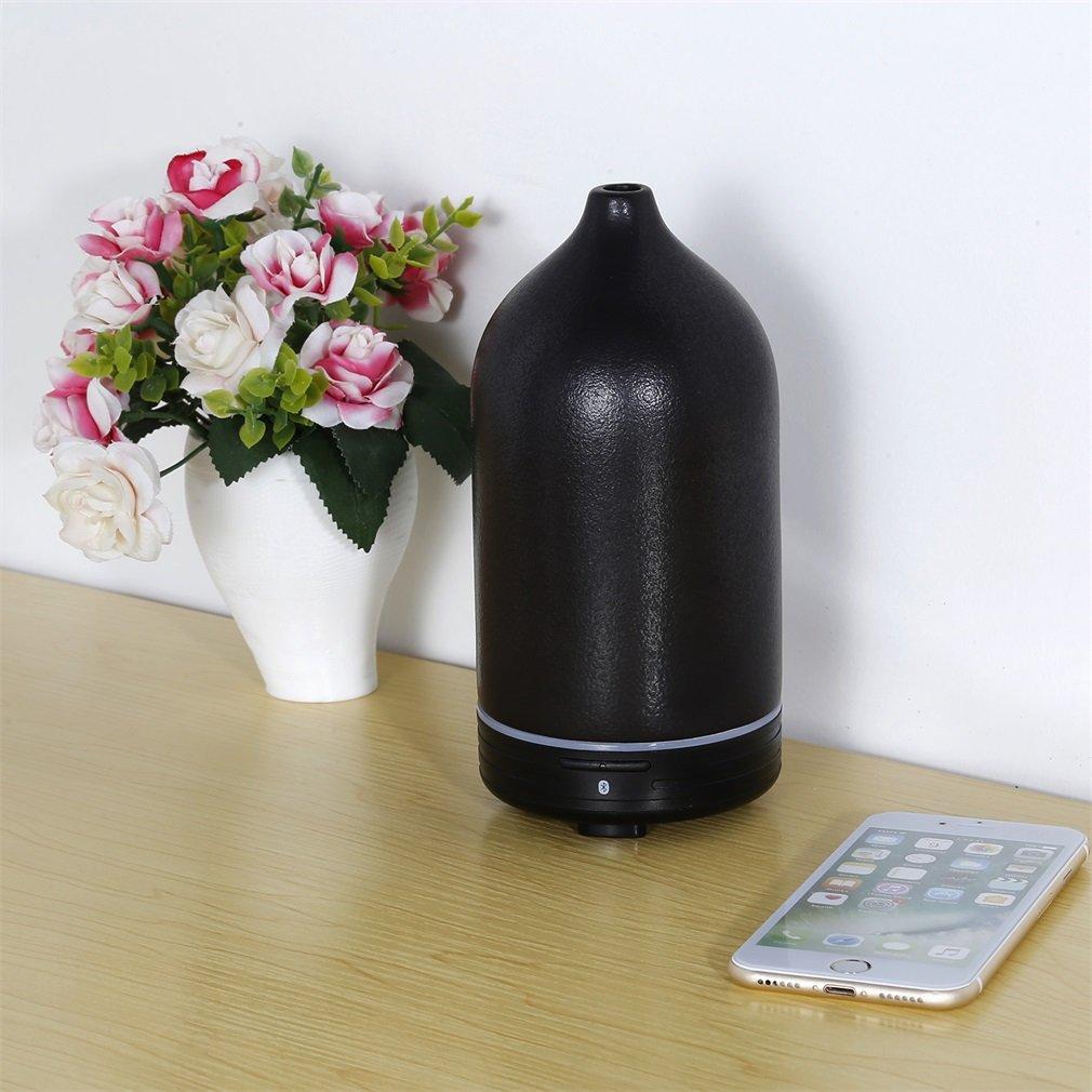 120ml Humidificador de Cerámica, Bluetooth inteligente Ultrasónico Aromaterapia Difusor de Aceites Esenciales Aroma (APP control, Led ajustable, Ajustes de Tiempo, reproductor de música)