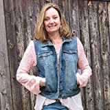 Flirty Coral Lace Sleeved Mixed Media Lightweight Distressed Denim Jacket
