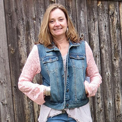 Flirty Coral Lace Sleeved Mixed Media Lightweight Distressed Denim Jacket by Diana by design