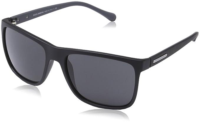 20fe7bc481d Dolce   Gabbana DG6086 Sunglass-280587 Black Rubber (Gray Lens)-56mm ...