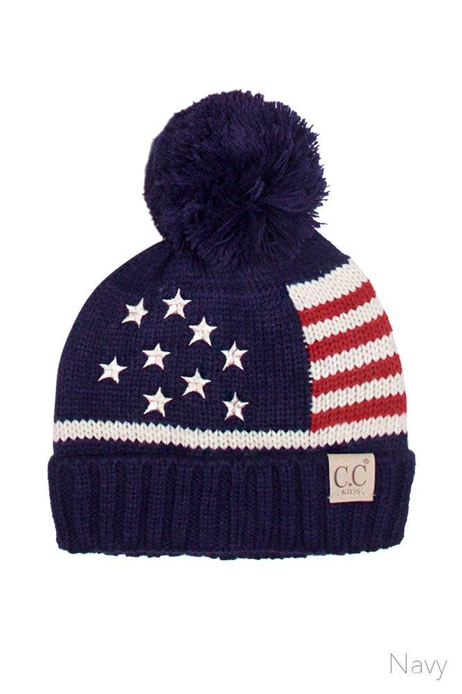 ScarvesMe CC Children American Flag Knit Hat (Navy)