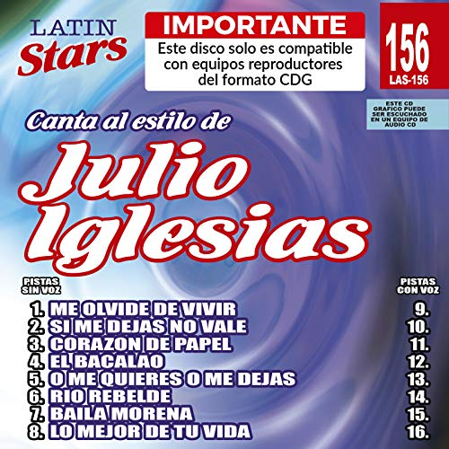 SPANISH KARAOKE CDG JULIO IGLESIAS Latin Stars #156