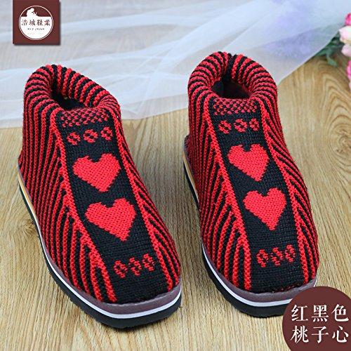 LaxBa Femmes Hommes chauds dhiver Chaussons peluche antiglisse intérieur Cotton-Padded Slipper chaussures rouge et noir (pêche coeur)42/43 (pour 39 ~ 40 mètres)