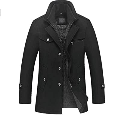 30a37d4e9361 Winter Wool Coat Slim Fit Jackets Mens Casual Warm Outerwear Jacket and Coat  Man Pea Coat