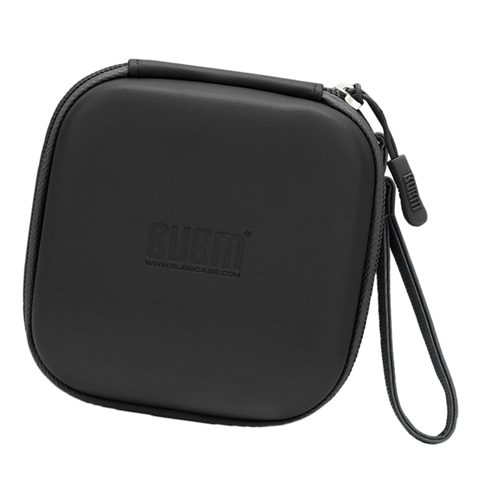 Fityle Mini Travel Cable Organizer Bag Hard Case USB Flash Drive Storage Black