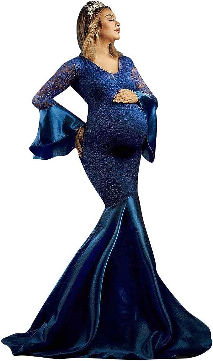 Schwangere Spitzekleid Umstandsmode Schwangerschafts Fotoshooting Frauenkleid DE