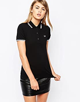 Fred Perry Twin Tipped Polo para mujer, color negro Talla:42 ...