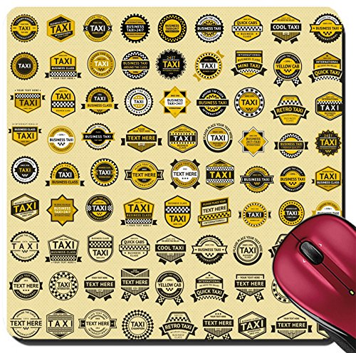 Liili Suqare Mousepad 8x8 Inch Mouse Pads/Mat Taxi insignia vintage style Big set Photo - Style Taxi