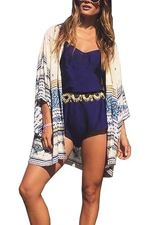 Yonala Womens Printed Beachwear Summer Chiffon Swimsuit Cover Up ...