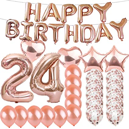 Sweet 24th Birthday Decorations Party SuppliesRose Gold Number 24 Balloons Foil Mylar