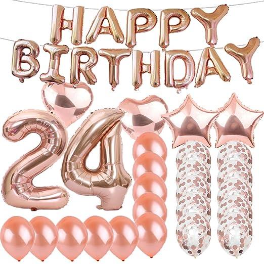 Globos de látex con diseño de número 24 de oro rosa, ideal ...