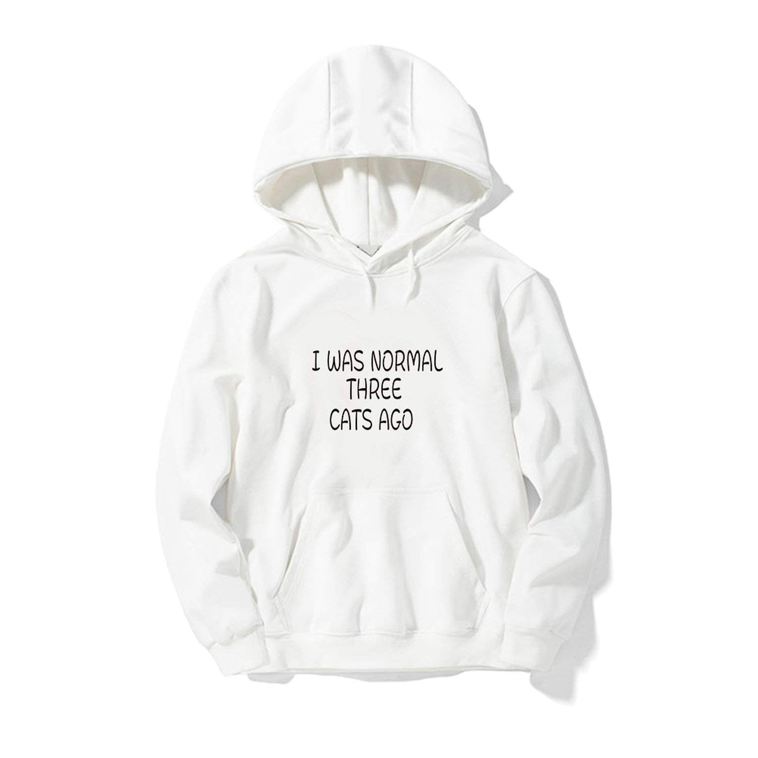 I was Normal Three Cats AGO Letters Printed Women Men Hip Hop Hoodies Funny Sweatshirts
