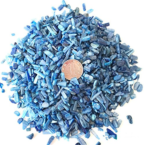 Natural Kyanite (AITELEI 1 lb Natural Kyanite Tumbled Chips Crushed Stone Healing Reiki Crystal Irregular Shaped Stones Jewelry Making Home Decoration)
