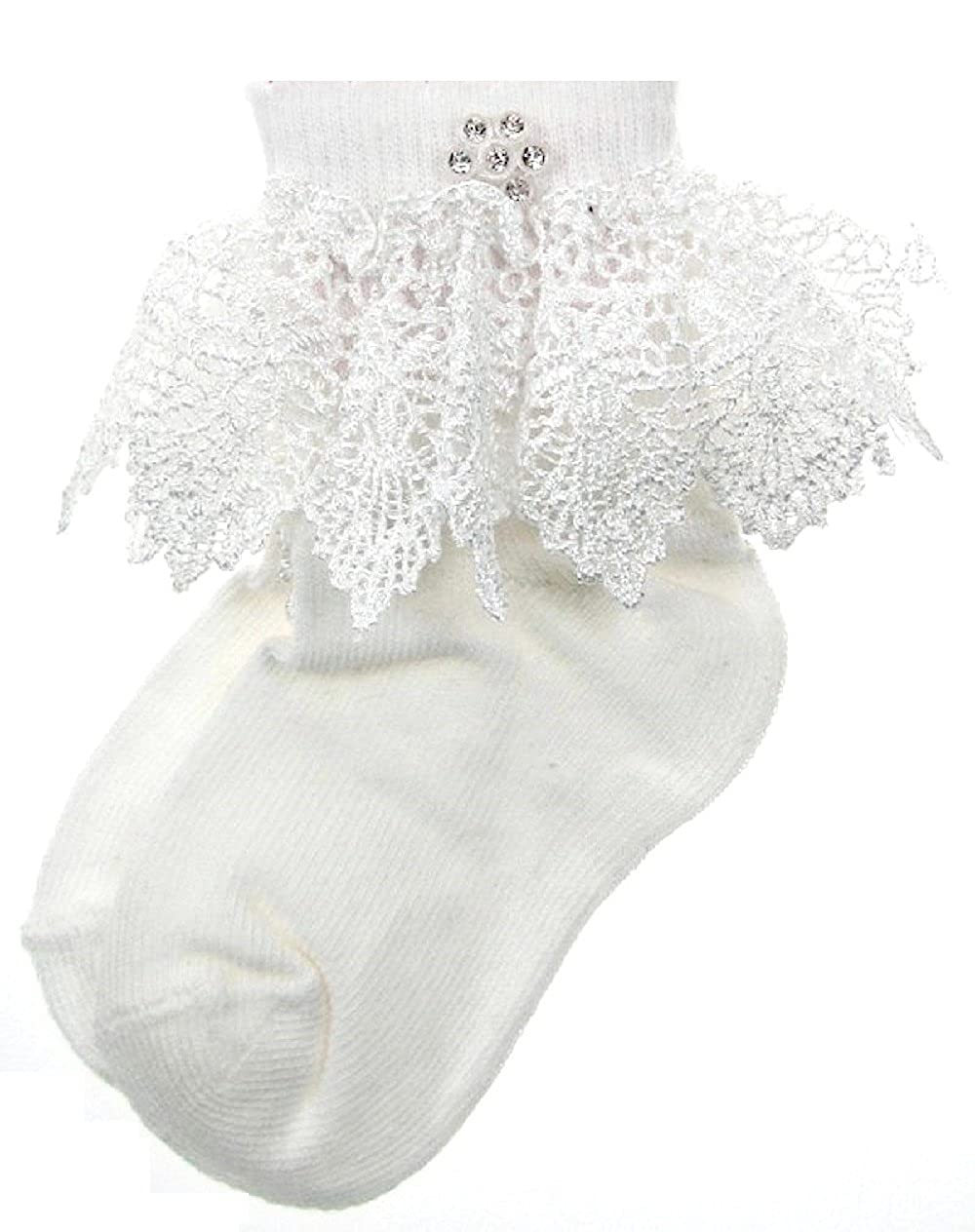 BABY Girls Frilly Socks & Diamante Flower White or Cream Christening Wedding Size 0-3m or 3-6m or 6-12m
