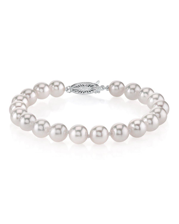 18K Gold 6.0-6.5mm Hanadama Japanese Akoya Saltwater White Cultured Pearl Bracelet