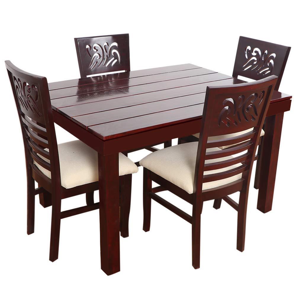 Furny Montoya Solid Wood Dining Table 4 Seater (Teak Wood)