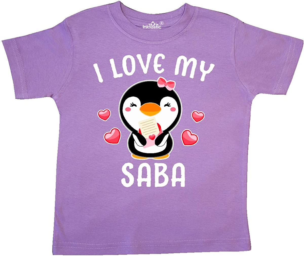inktastic I Love My Saba with Cute Penguin and Hearts Toddler T-Shirt