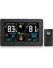 Wireless Weather Station, GBlife Indoor Outdoor Thermometer, Digital Color Forecast Station with Remote Sensor,Temperature and Humidity Monitor/Alerts, Alarm Clock