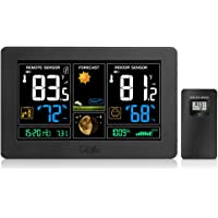 GBlife Wireless Weather Station, Indoor Outdoor Thermometer with Remote Sensor, Digital Color Forecast Station, Temperature Humidity Monitor Alerts, Barometer, Atomic Clock