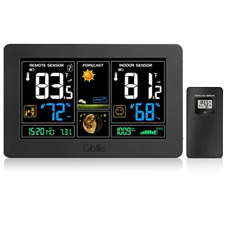 GBlife Wireless Weather Station, Indoor Outdoor Thermometer Hygrometer , Weather Forecast Station with Large Color LCD, Remote Sensor, Temperature ...