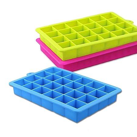 NEWROAD 3 Stück Eiswürfelform Silikon Eiswürfel Form Eiswürfelbehälter Eiswürfelbereiter mit Deckel Ice Tray Ice Cube 24 Fäch