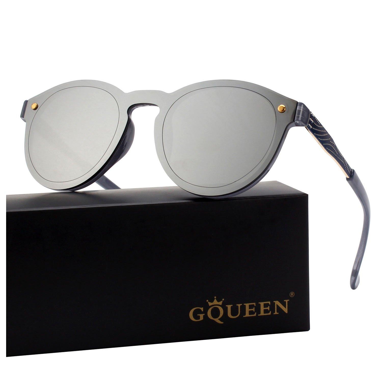 8af627f911 GQUEEN Futurista Sin Marco Redondas Gafas de Sol Protector Reflexivo Espejo  Anteojos para Hombre Mujer MEO5