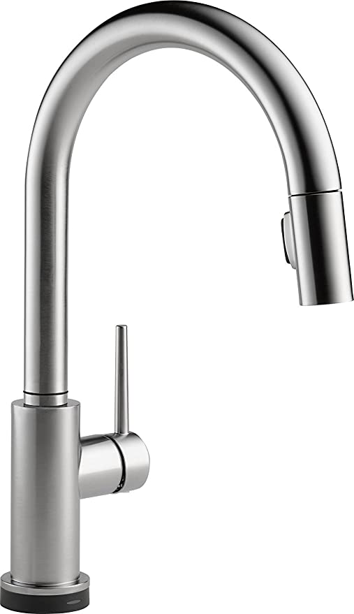 Delta Trinsic Single Handle Touch Pull-Down Kitchen Faucet with Touch2O & Alexa Voice Activated Technology, Arctic Stainless (9159TV-AR-DST)