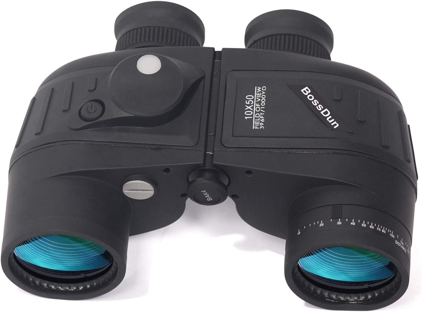 10X50 Prismáticos Marinos para Adultos Impermeable con Brújula Brújula BAK4 a Prueba de Niebla Prism Lens Binoculares Militar para Navegación Navegación Observación de Aves y Caza