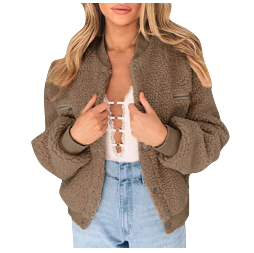 Spring Color  Women's Fashion Short Coat Fleece Sherpa Jacket Casual Faux Fur Button Down Outwear with Pockets Khaki by 🍒 Spring Color 🍒