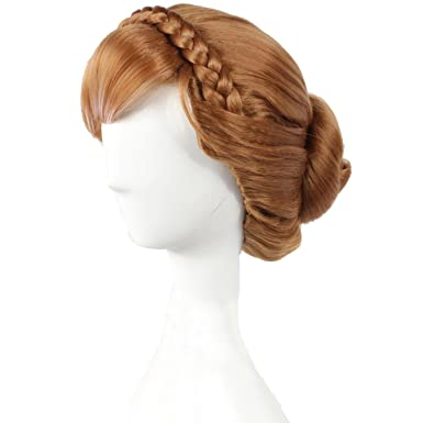 Image Unavailable. Image not available for. Color  Angelaicos Womens Brown Wig  Halloween Cosplay Short Braid Updo Wigs 671567e47