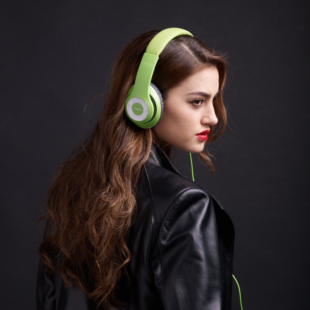 Ausdom F01 Kopfhörer Hi-Fi Stereo On-Ear Kopfhörer Ohrhörer mit Mikrofon 3.5mm-Anschluss Gaming Headset für PC, Desktop, Laptop, Tablet, iPhone 6s/6s Plus/6/SE/5s/5/4, Samsung Huawei Kinder Smartphone Headphone (Grün)