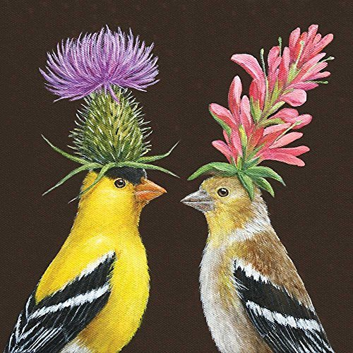 Paperproducts Design Paper Vicki Sawyer Goldfinch Couple Luncheon Napkins by Paperproducts Design by Paperproducts Design