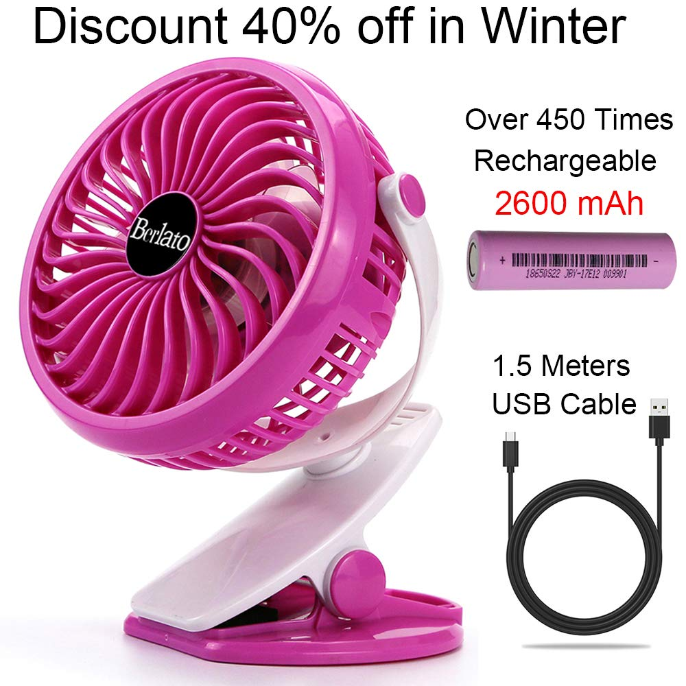 Berlato 2018 Portable Clip on Fan 2600mAH Rechargeable Battery 2.4Hours High Speed for Baby Stroller, Buggy, Pushchairs, Pram, Crib (Rose) HYH 5HY001