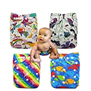 Ohbabyka Baby Reusable Waterproof Bamboo Cloth Diapers Nappies 4pcs, 4Pcs Inserts (Girls Multi-color04)