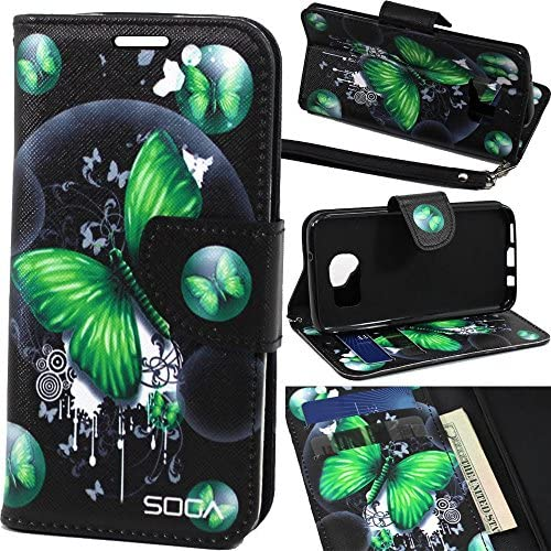 Samsung Galaxy S8 Case, SOGA [Pocketbook Series] PU Leather Magnetic Flip Design Wallet Case for Samsung Galaxy S8 - Green Butterfly Sales