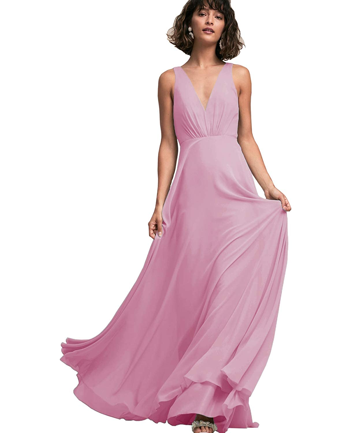 bc608ac0a9a5 Yilis Women's Sleeveless V Neck A Line Chiffon Long Bridesmaid Dress Formal  Evening Prom Gown Dark Pink US6: Amazon.ca: Clothing & Accessories