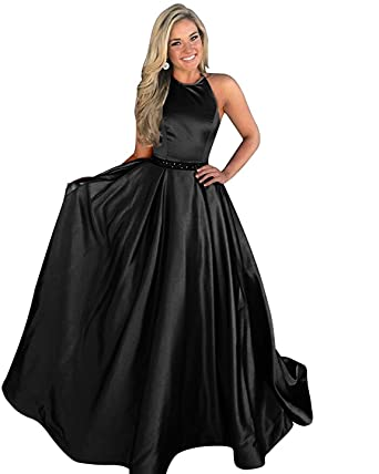 Satin Black Formal Dresses