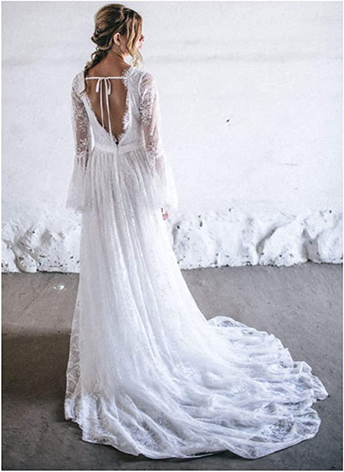 PearlBridal V Neck Appliques Wedding Dresses for Bride Long Sheer Sleeves Mermaid Bridal Gowns Lace
