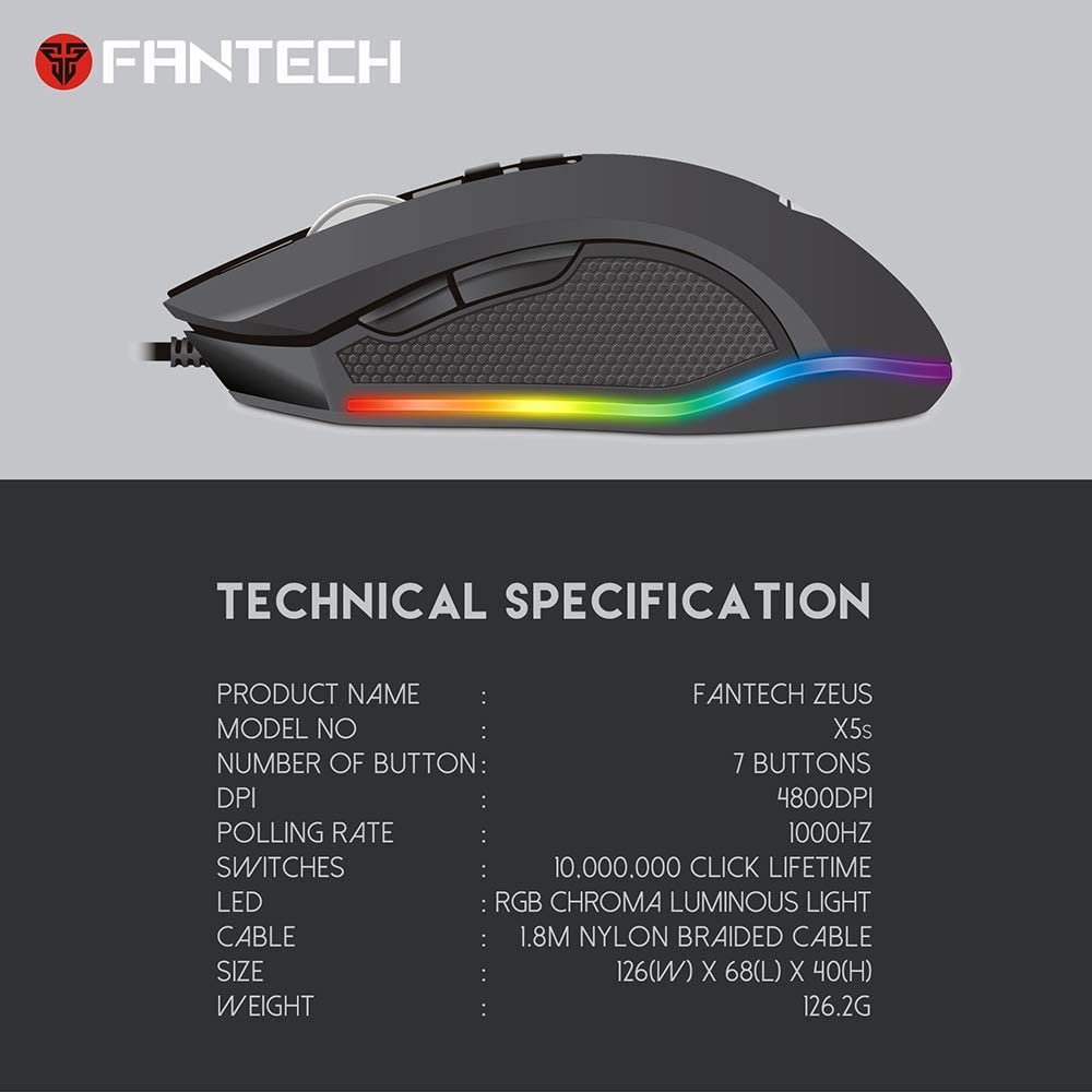 Fantech X5s ZEUS Computer Wired Mouse 4800 DPI USB Optical PC Gaming Mouse 6D For PC/Laptop