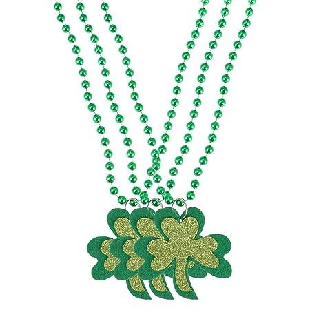 5738988b35cf LUOEM 3pcs Collar del Día de San Patricio Trébol Trébol Verde Collar de  Cuentas Trébol Colgante