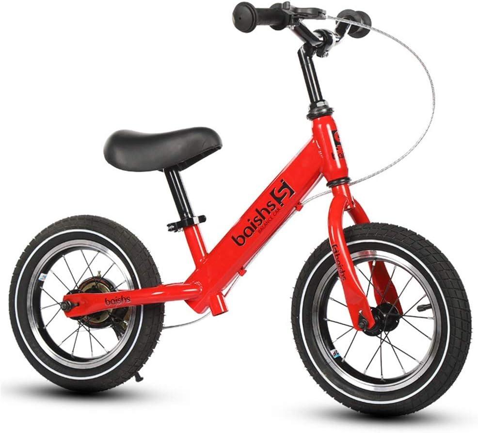 子供用 バランス三輪車 バランスバイク12インチスポーツバランスバイクませんペダル自転車のカーボンスチールフレームアジャスタブルハンドルバーやシートベビーバランス自転車を歩きます 乗用玩具 (Color : Red, Size : 12 inches)