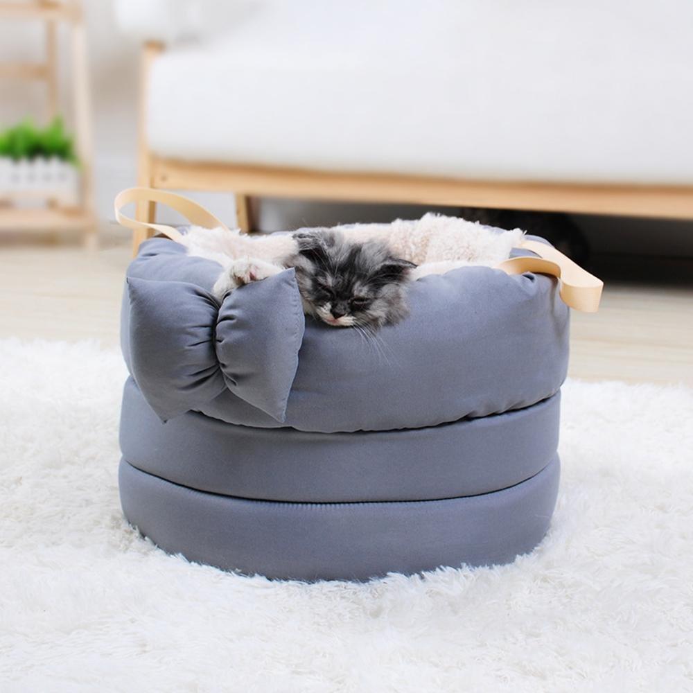 E Aoligei Pet Litter Kennel cat nest pet Sleeping Bag Plush Butterfly Knot 40cmx 40cmx 28cm Perfect for Sunbathing mat, Nap&Sleeping Bed