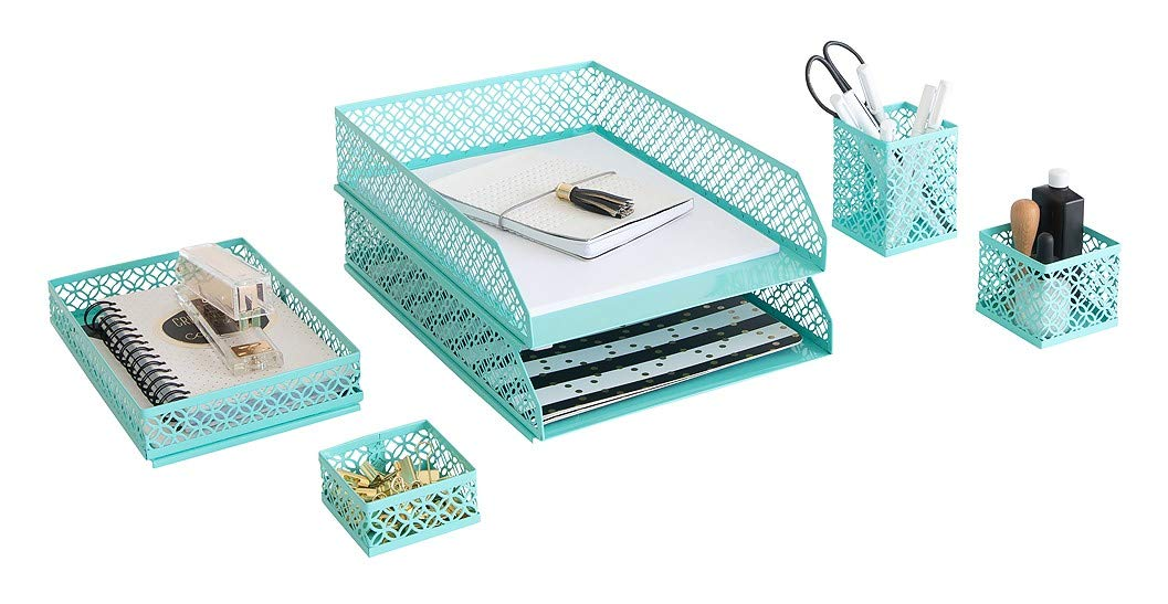 Blu Monaco Office Desk Organizers and Accessories 6 Piece Interlocking Aqua Desk Organizer Set - Office Organizer