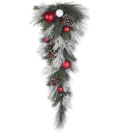 43 artificial flocked white pine christmas door swag unlit