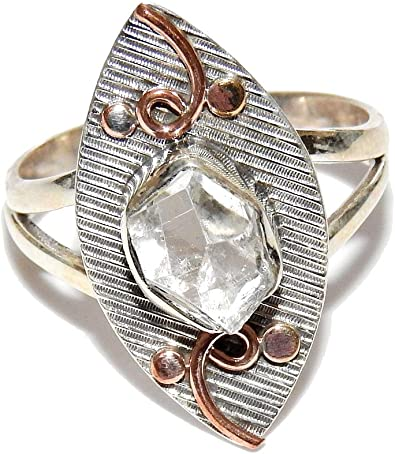 Natural Herkimer Diamond 925 Solid Sterling Silver Unisex Ring Size 9