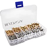 BEADNOVA 1200pcs Rose Gold/ Silver Plated Brass Round Beads 3mm 4mm 6mm 8mm Free Plastic Container Box for Jewelry Making