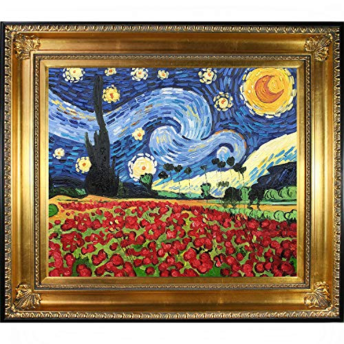 - La Pastiche VG2667-FR-650G20X24 Framed Oil Painting Starry Poppies Collage Hand Painted Original by with Regency Gold Frame