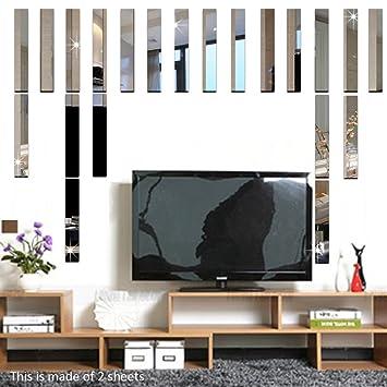 Funlife 10pcs Long Rectangle Bar Modern 3D Acrylic Wall Mirror Sticker Home Decoration Border Decal
