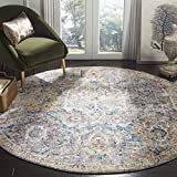 Safavieh Bristol Collection BTL347A Grey and Blue Vintage Distressed Polyester Round Area Rug (7' Diameter)
