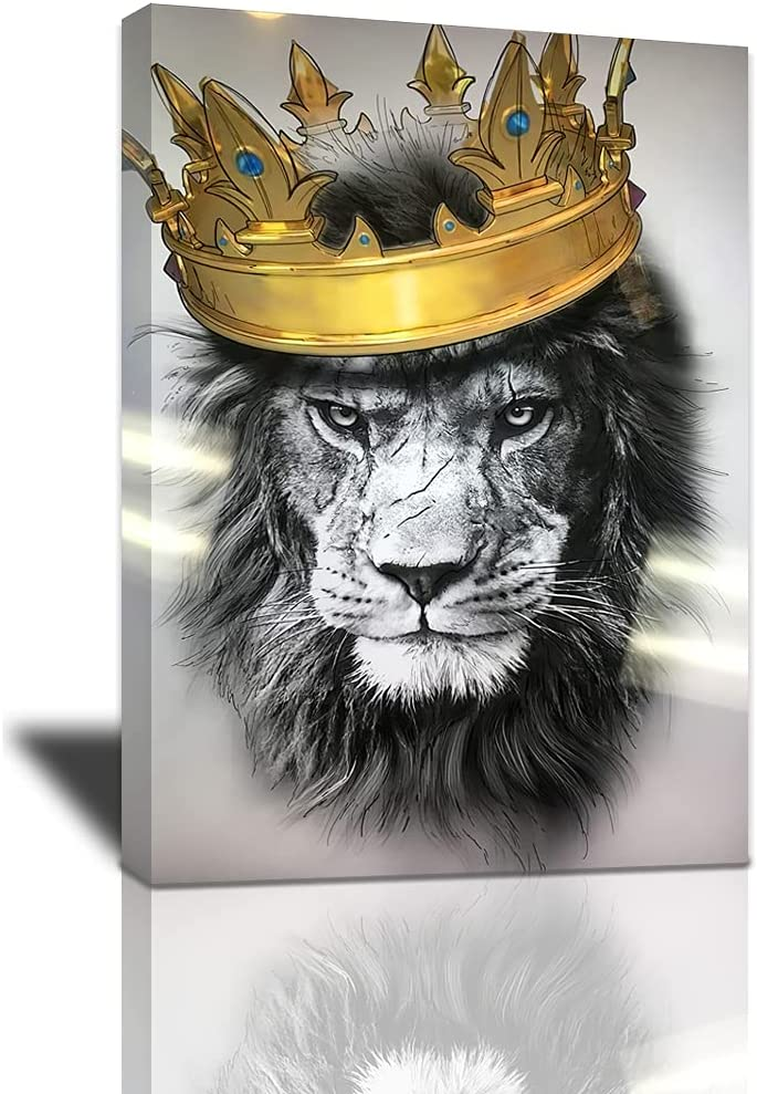 Black and White Lion with Crown Canvas Wall Art Abstract King Animal Artwork Lion Head Portrait Gold Modern Home Print Painting Large Wooden Wall Décor Framed Poster for Bedroom Bathroom 16x24 Inch